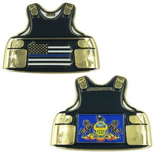 Pennsylvania LEO Thin Blue Line Police Body Armor State Flag Challenge Coins