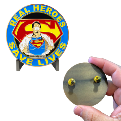 CL3-14 Superman Doctor Nurse RN EMT Paramedic Therapist Technician Pin Pandemic