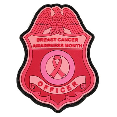 Pink Breast Cancer Awareness PVC Patch with Hook and Loop (CBP badge shape) Field Ops, Border Patrol, AMO