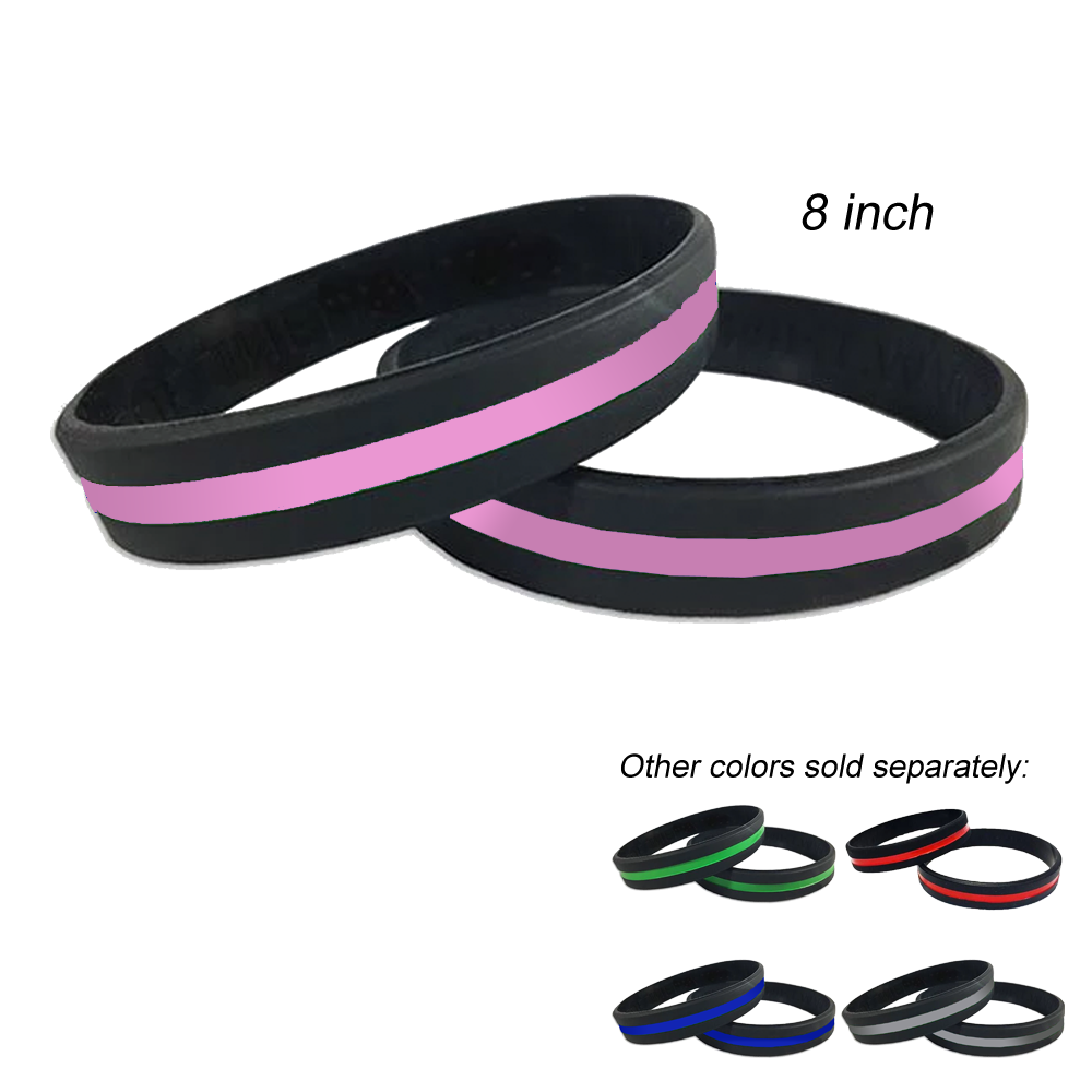 Thin Pink Line Police Silicone Bracelet (PINK) Breast Cancer Awareness