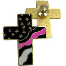Thin Pink Line American Flag Cross USA Lapel pin Cloisonné Breast Cancer Awareness Police