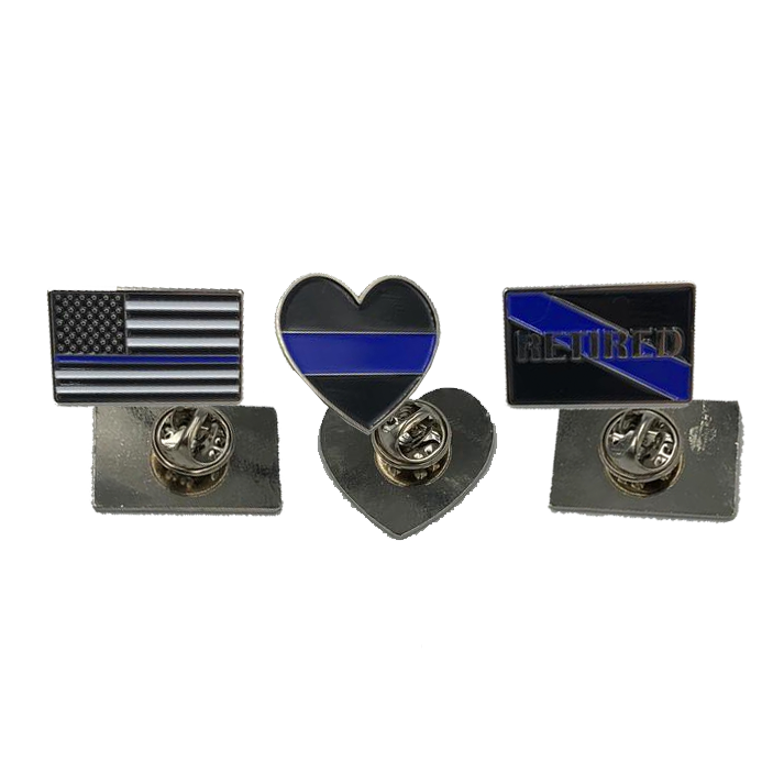 Thin Blue Line Pin Set: 3 Law Enforcement Police Pins for $6