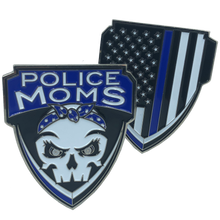 E-002 Police Moms Thin Blue Line Challenge Coin Supporter