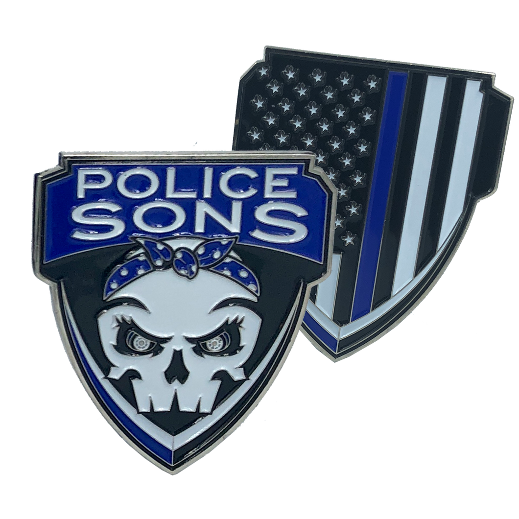 Police Sons Thin Blue Line Challenge Coin Supporter
