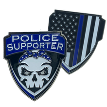 Police Supporter Thin Blue Line Challenge Coin Supporter