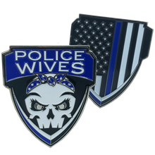 E-006 Police Wives Thin Blue Line Challenge Coin Supporter wife