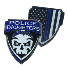 E-007 Police Daughters Thin Blue Line Challenge Coin Supporter