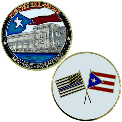 AA-014 Puerto Rico Challenge Coin Police Federal Agent CBP National Guard Thin Blue Line