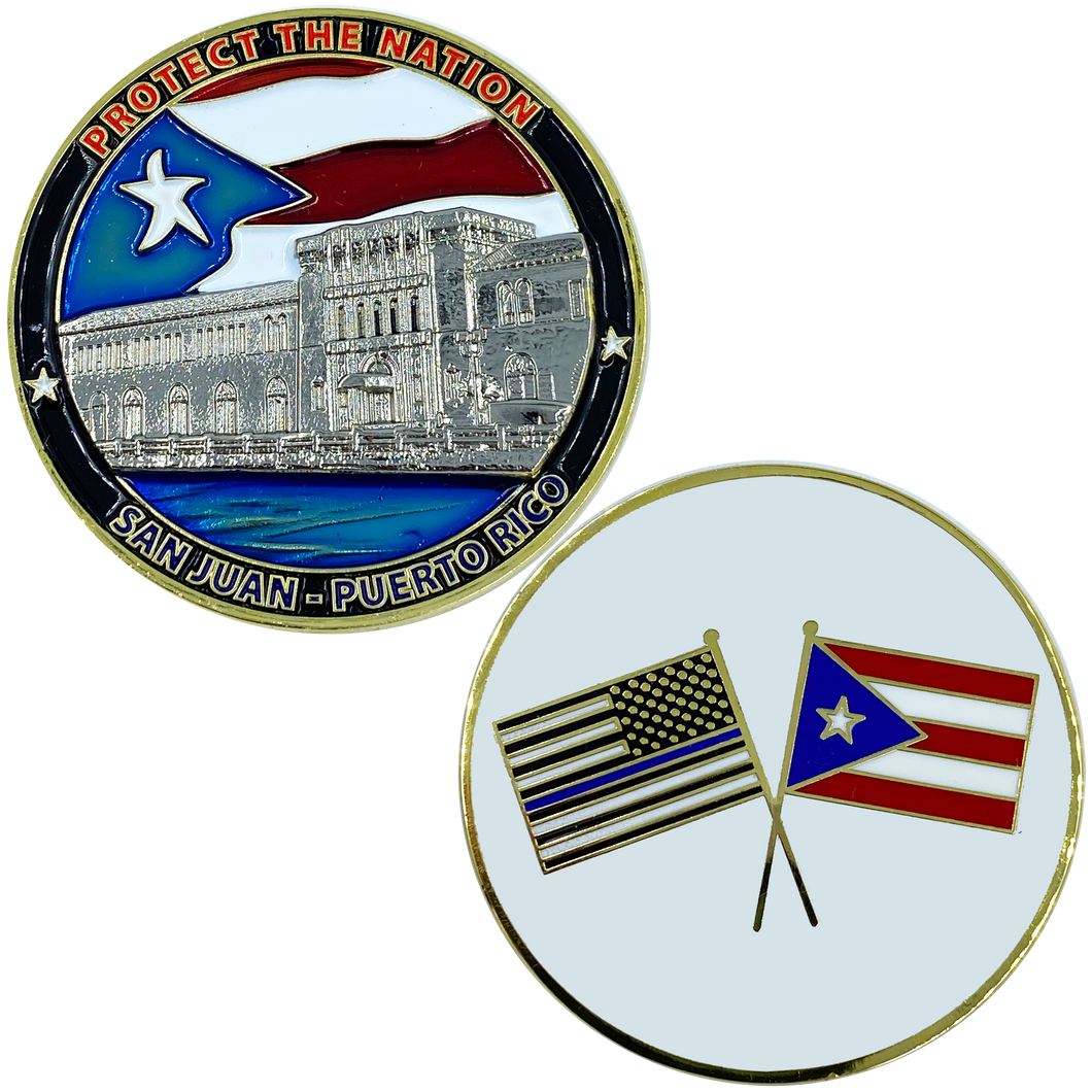 AA-014 Puerto Rico Challenge Coin Police Federal Agent CBP National Guard Thin Blue Line san juan