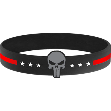 Thin Red Line Punisher Silicon Bracelet (RED) Fire Department, Fire Fighter Firefighter, FDNY LAFD Chicago Fire