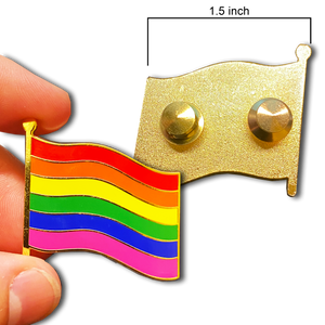 GG-002 Large LGBTQ Rainbow Pride Flag 1.5 inch cloisonné gay pins