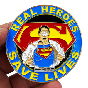CL3-13 Superman Doctor Nurse RN EMT Paramedic Therapist Technician Challenge Coin Pandemic