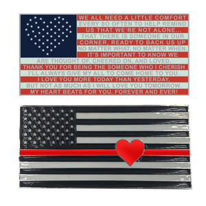 Thin Red Line Flag with Heart and Love Support Fire Fighter Challenge Coin