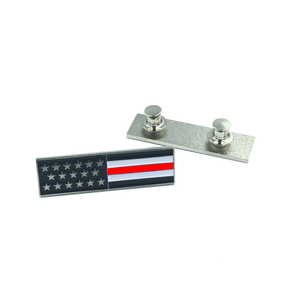 Thin Red Line U.S. Flag Commendation Bar Pin Fire Fighter, Rescue, Department