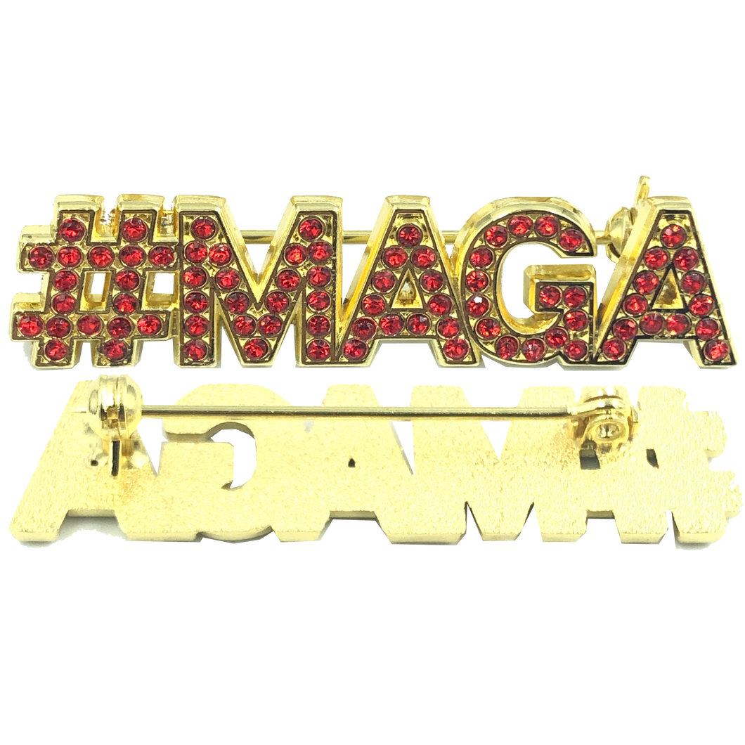 RED: Crystal #MAGA pin TRUMP MAGA Make America Great Again