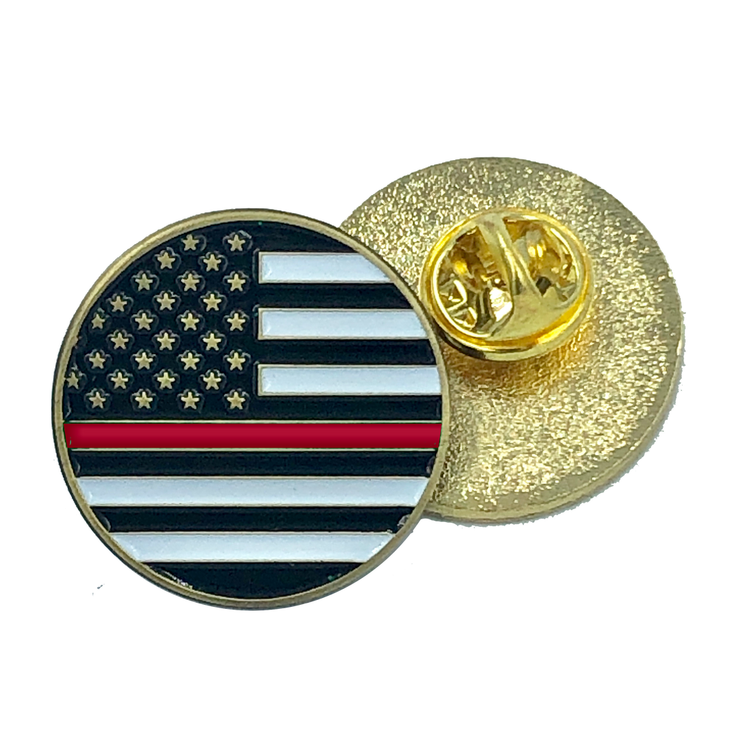 Thin Red Line pin police firefighter american flag fire department (round)
