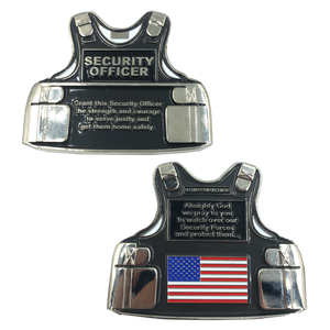 SECURITY OFFICER Body Armor Challenge Coin Security Enforcement Guard Forces Prayer
