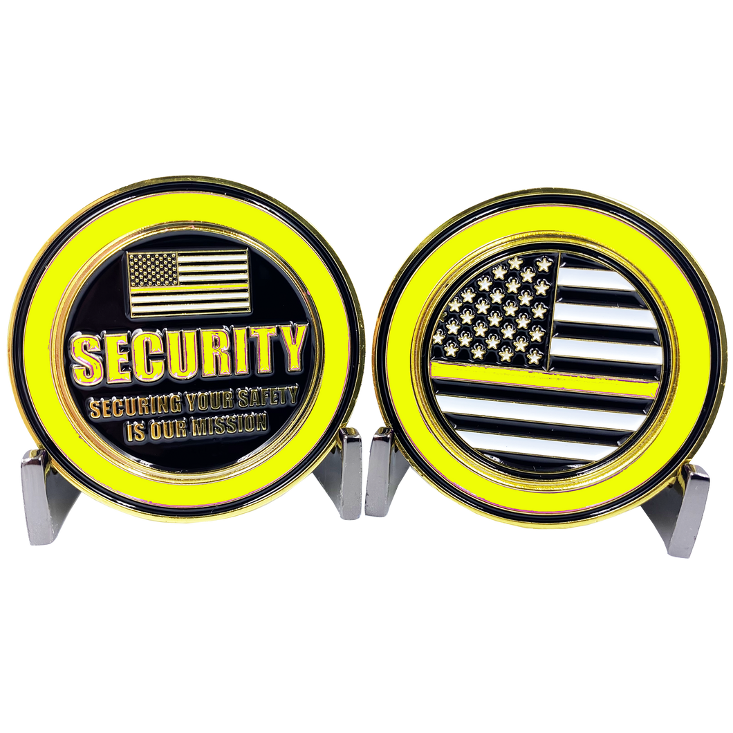 DL1-02 SECURITY OFFICER Challenge Coin Security Enforcement Guard Thin Yellow Line