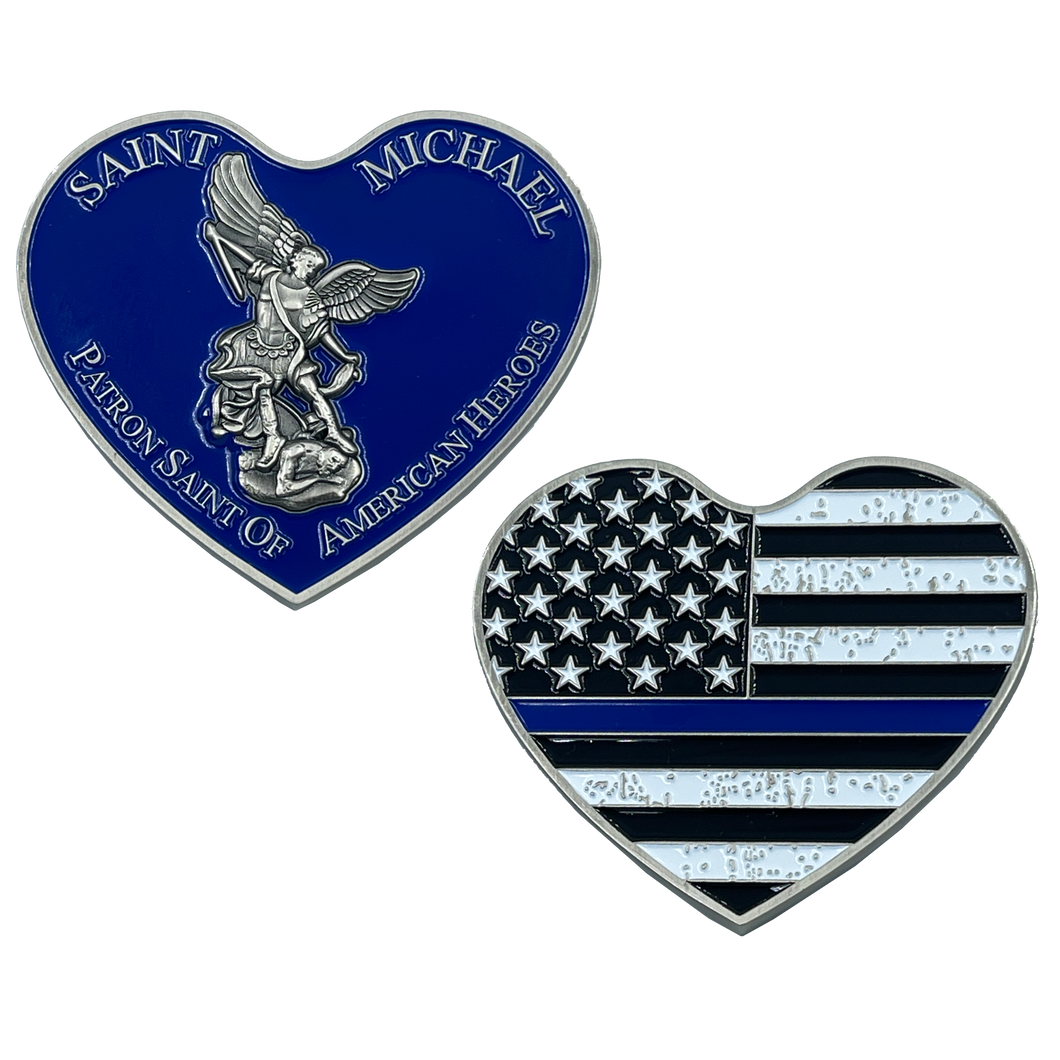 EL4-003 Thin BLUE Line St. Michael Heart Love Prayer Patron Saint of American Heroes NYPD LAPD HSI CBP CHICAGO POLICE BOSTON