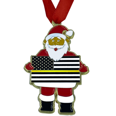 GG-017 Thin Gold Line Christmas Ornament Santa 911 Emergency Dispatcher Challenge Coin yellow