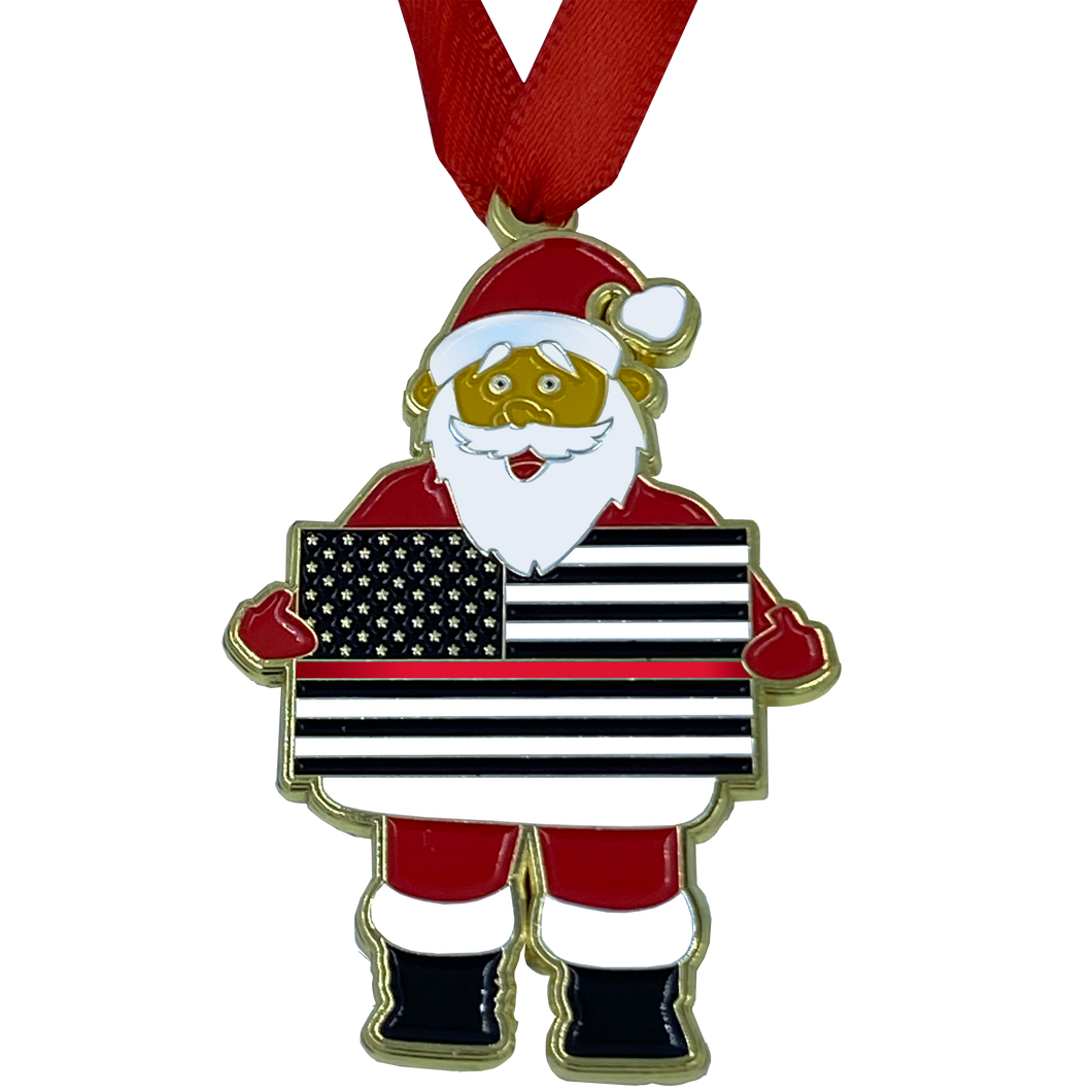 FF-013 Thin Red Line Christmas Ornament Santa Challenge Coin Fire Fighter Firefighter Department Rescue