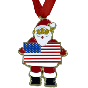 AA-005 American Flag Patriotic Christmas Ornament Santa Challenge Coin Ornament