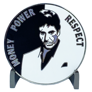 DL5-05 Scarface Money Power Respect Cuban Flag Thin Blue Line Al Pacino inspired Miami-Dade Police Challenge Coin