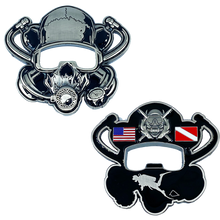 DL11-16 Scuba Flag Rescue Diver Skull Challenge Coin Military Police Coast Guard Navy US USA