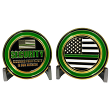 CL3-01 Thin Green Line Challenge Coin Security Enforcement Agent Officer Guard