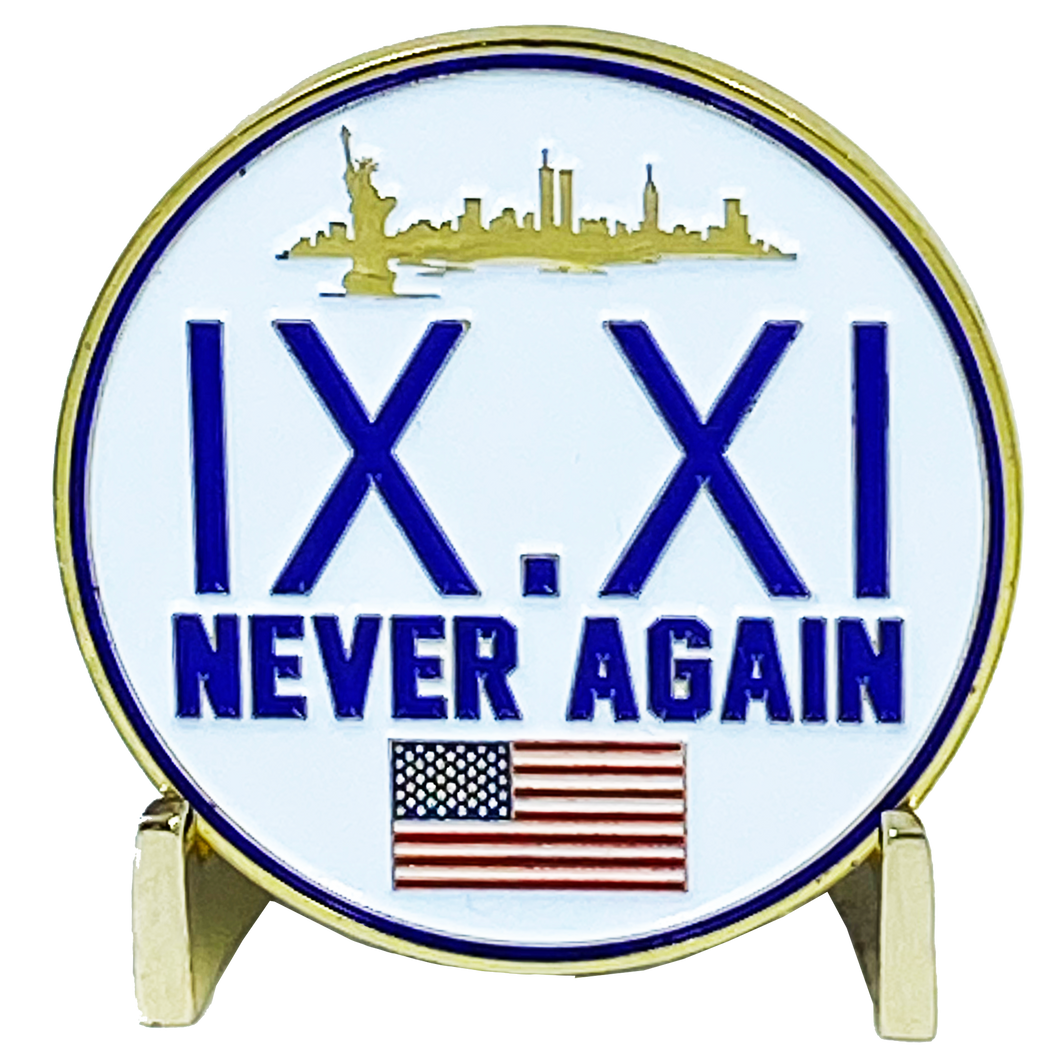 DL6-03 September 11th 9/11 Never Agin Challenge Coin American Flag 911 New York City Skyline NYC USA