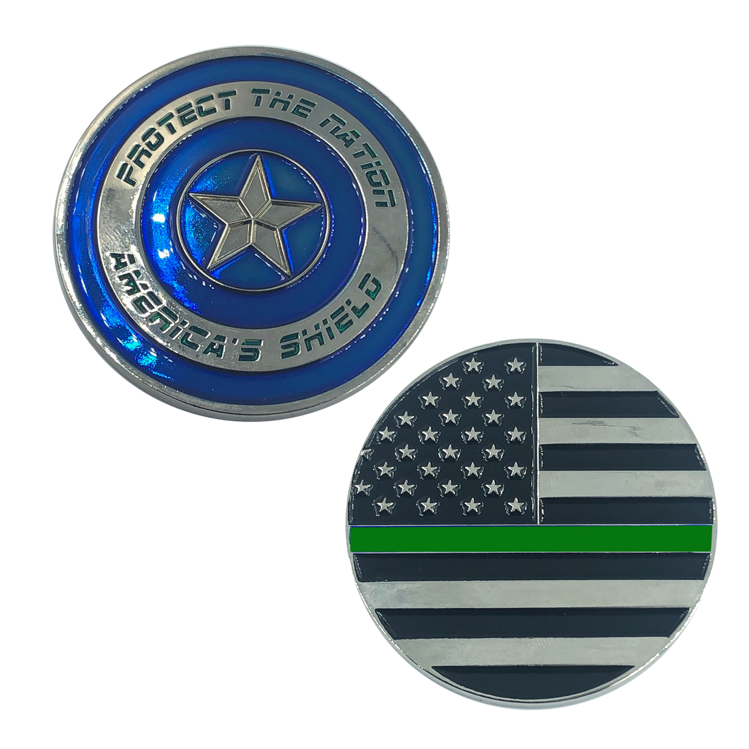 Thin Green Line Captain America Shield Police CBP Federal Agent Border Patrol