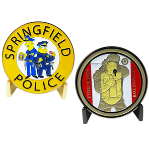 DL3-01 Springfield Police inspired by Simpsons: Firearms Instructor Paper Target Challenge Coin
