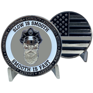 CL7-16 Thin Gray Line Challenge Coin SLOW IS SMOOTH, SMOOTH IS FAST Beard Gang Skull Correctional Officer CO Corrections