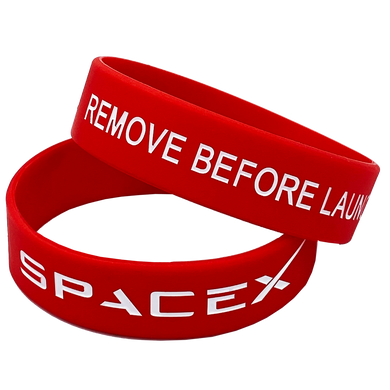 Red SpaceX Remove Before Launch Rubber Silicone Bracelet (8 inch)