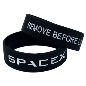 Black SpaceX Remove Before Launch Rubber Silicone Bracelet (8 inch)