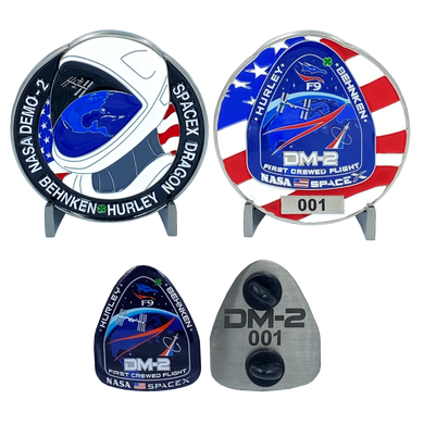 DL11-15 SpaceX Nasa DM-2 First Crewed Flight Challenge Coin Pin set with individual serial numbers