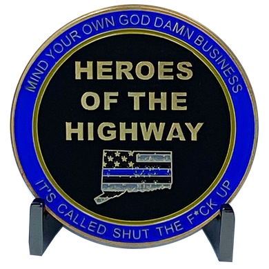 DL6-08 Heroes of the Highway Version 3 Dispensary Container CSP Challenge Coin inspired by Connecticut State Police CT Trooper Matthew Spina