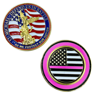 CL13-03 St. Michael Defend Us Police Officer's Prayer Challenge Coin Thin Pink Line Breast Cancer Awareness
