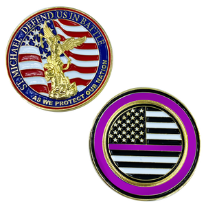 CL13-04 St. Michael Defend Us Police Officer's Prayer Challenge Coin Thin Purple Line Security