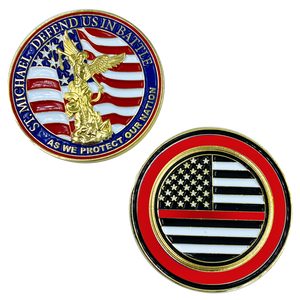 CL13-02 St. Michael Defend Us Police Officer's Prayer Challenge Coin Thin Red Line Fire Fighter Rescue FireFighter Department