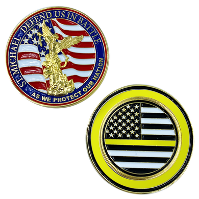 CL13-01 St. Michael Defend Us Police Officer's Prayer Challenge Coin Thin Gold Line Law Dispatcher