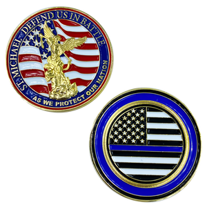 BB-012 St. Michael Defend Us Police Officer's Prayer Challenge Coin Thin Blue Line Law Enforcement Protect Patron Saint Military Army Marines, Air Force Navy