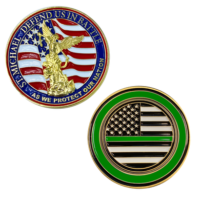 M-20 Thin Green Line St. Michael Defend Us Police Officer's Prayer Challenge Coin Law Enforcement Protect Patron Saint Sheriff Security CBP Border Patrol