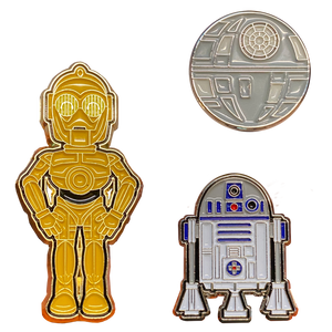 DL2-11 Pins inspired by Star Wars R2D2 C3PO and Death Star artoo 3 Pin Set