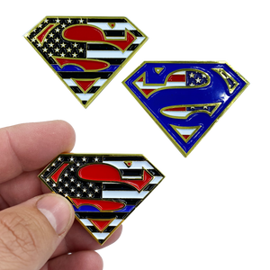 F-012 Superman Thin Blue Line Police Challenge Coin