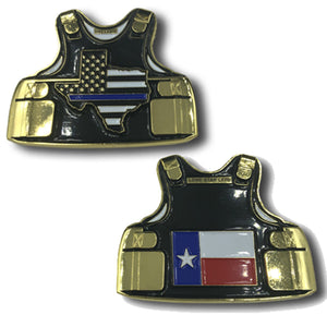 Texas Lone Star LEO Thin Blue Line Police Body Armor State Flag Challenge Coins