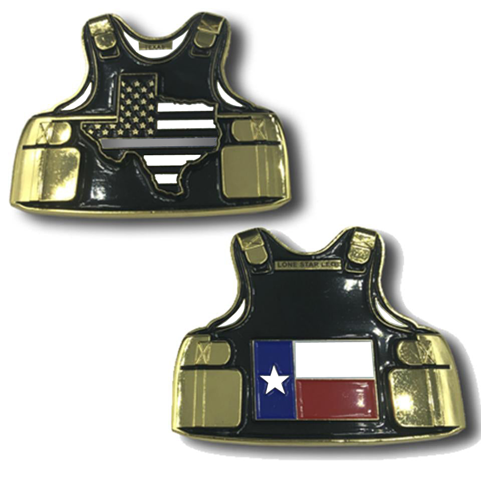 MM-003 Thin GRAY Line CO Texas Lone Star Corrections Body Armor State Flag Challenge Coins Correctional Officer