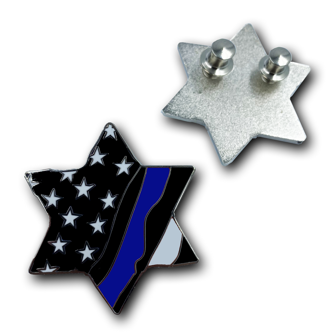Thin Blue Line Jewish Star of David Police American Flag U.S.A. Pin Cloisonné with deluxe clasps Israel