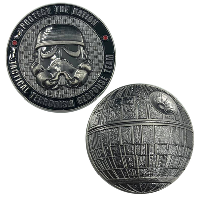 TACTICAL TERRORISM RESPONSE TEAM TTRT CBP Challenge Coin Storm Trooper Star Wars Death Star