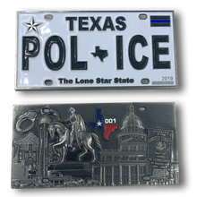 Texas Police License Plate Challenge Coin Border Patrol, Sheriff, CBP, Law Enforcement
